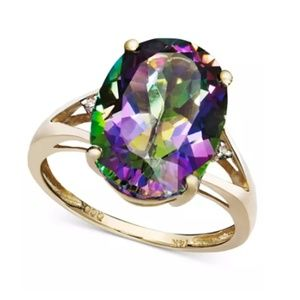 Macy's 14k Gold Mystic Topaz Oval & Diamond ring